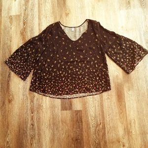 Old Navy Floral Bell Sleeve Romantic Top XL